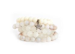 White Bone & Moonstone Bracelet Stack