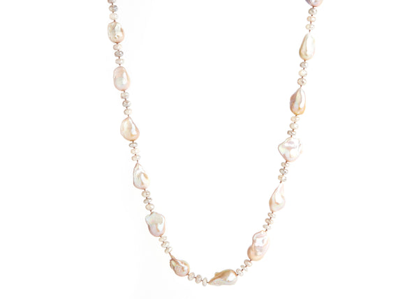 Moonstone & Baroque Pearl Necklace