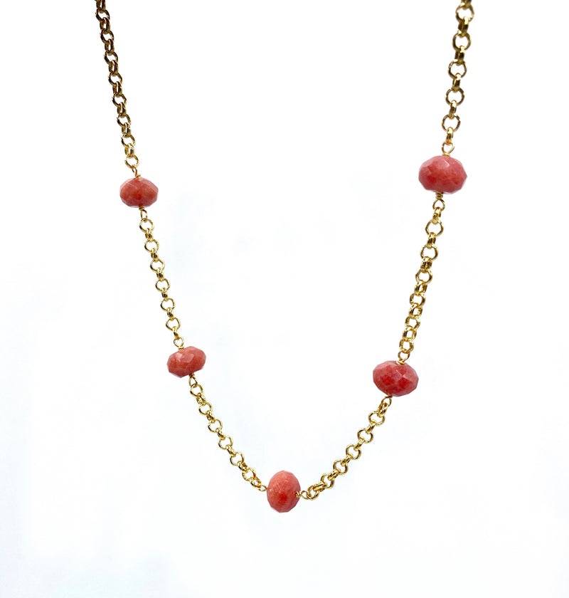 Red Jade & Chain Necklace