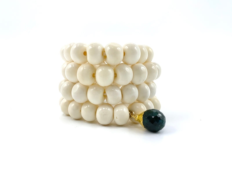 White Bone Bracelet Stack with Faceted Emerald Charm