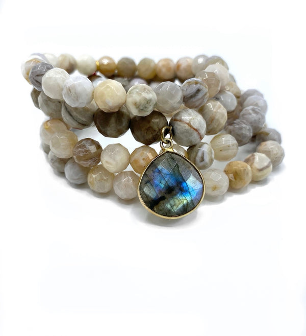 Sunstone Bracelet Stack with Large Labradorite Charm