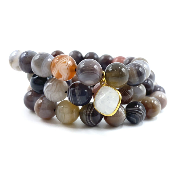 Botswana Agate Bracelet Stack with Small Moonstone Charm