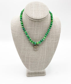 Emerald with Pave Diamond Charm Necklace