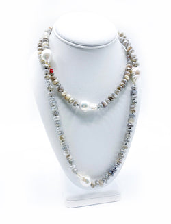 Long Moonstone & Baroque Pearl Necklace