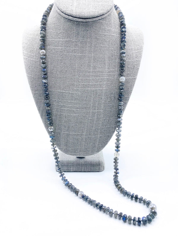 Long Labradorite Necklace with Moonstone