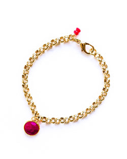 Faceted Ruby Charm Bracelet
