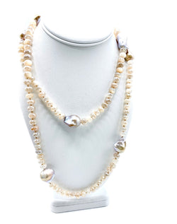 Champagne Baroque Pearls & moonstone necklace