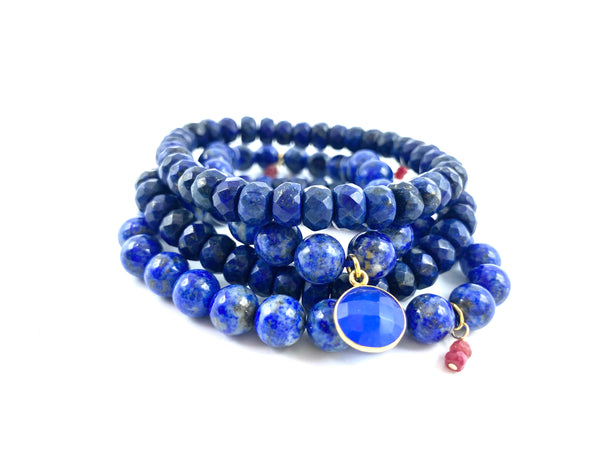 Lapis Bracelet Stack with Small Lapis Charm