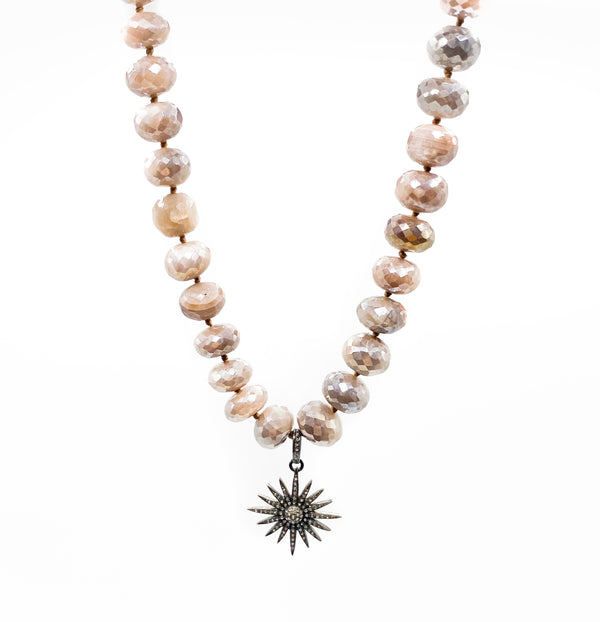 Australian Moonstone with Pave Diamond Starburst Necklace