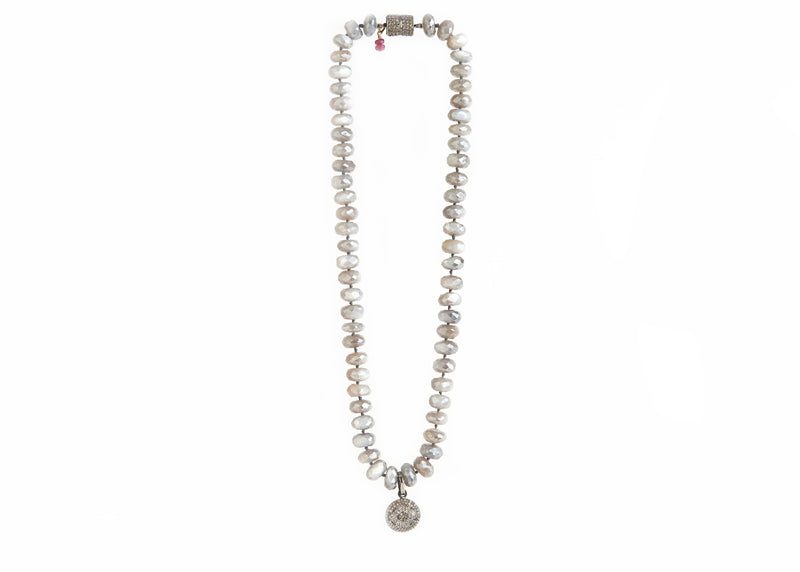 Australian Moonstone with Diamonds Necklace