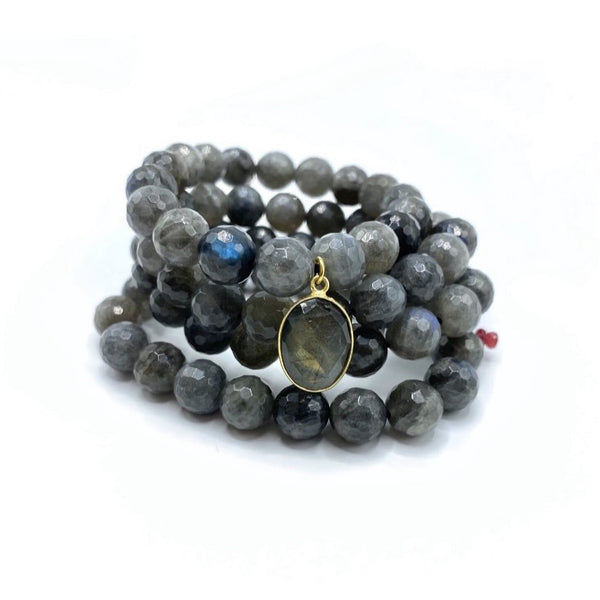 Labradorite Bracelet Stack with Medium Labradorite Charm