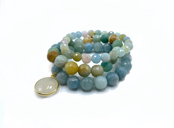 Aquamarine Bracelet Stack with Large Moonstone Charm