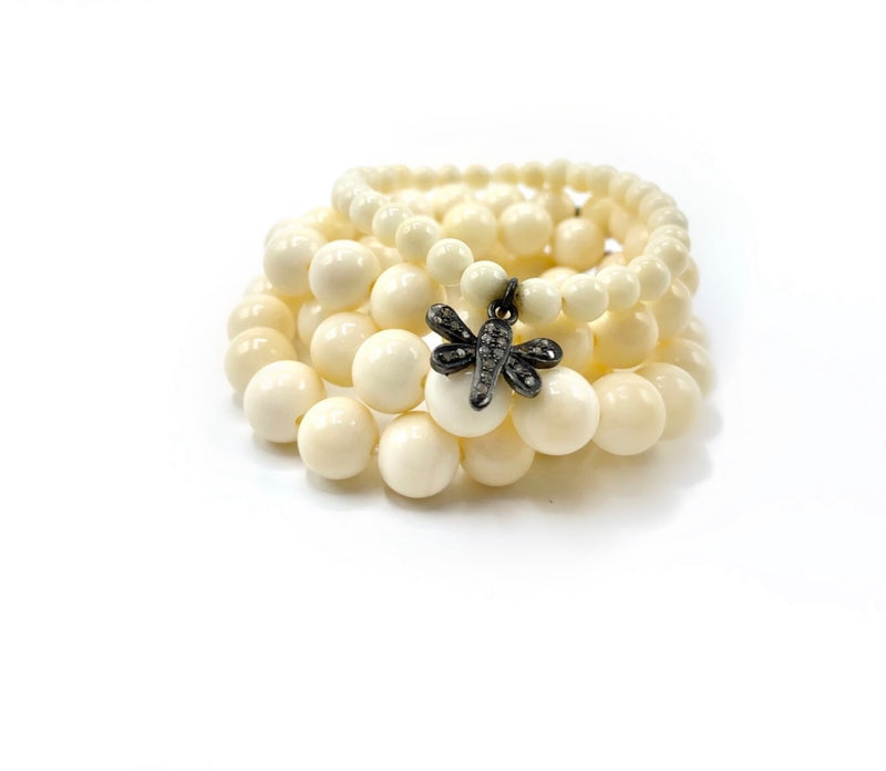 White Bone Bracelet Stack with Pavet Diamond Charm