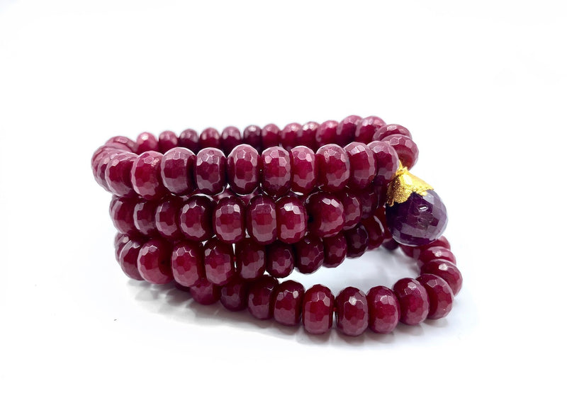 Red Jade & Ruby Bracelet Stack