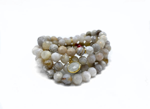 Sunstone Bracelet Stack with Small Moonstone Charm