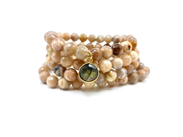 Sunstone Bracelet Stack with Small Labradorite Charm