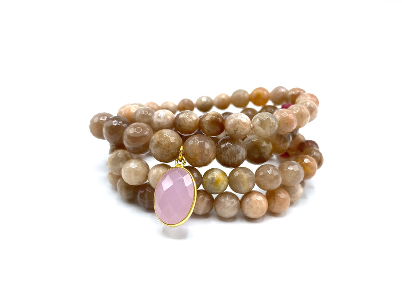 Sunstone Bracelet Stack with Medium Rose Quartz Charm