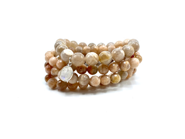 Sunstone & moonstone bracelet stack