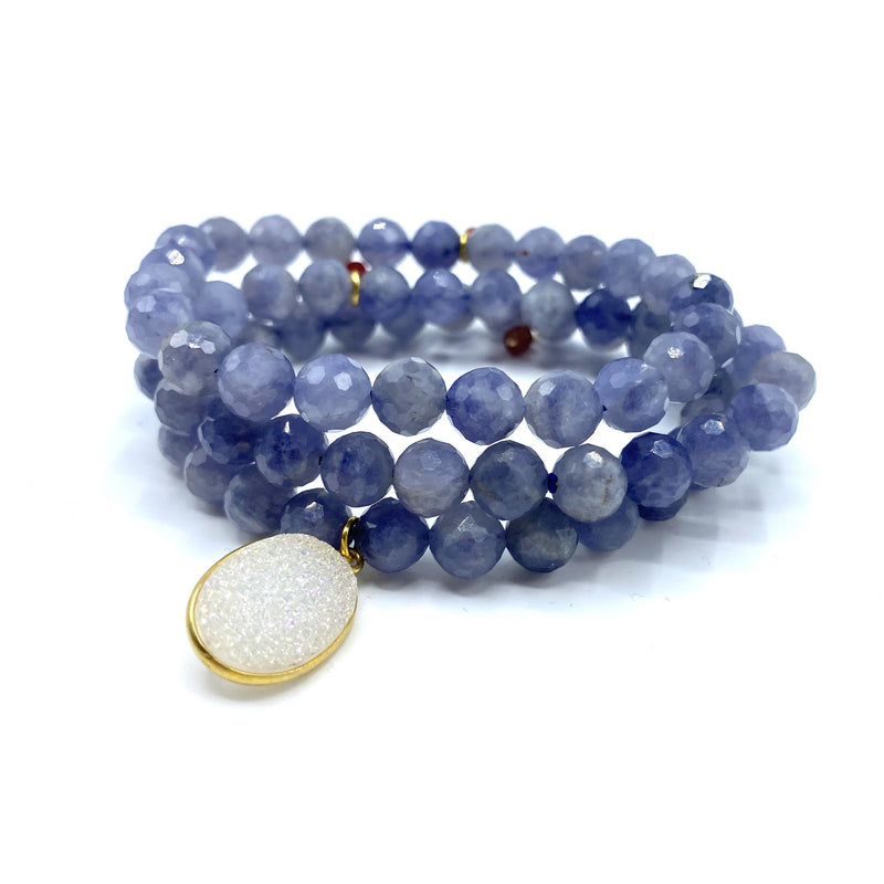 Tanzanite & Crystal Bracelet Stack
