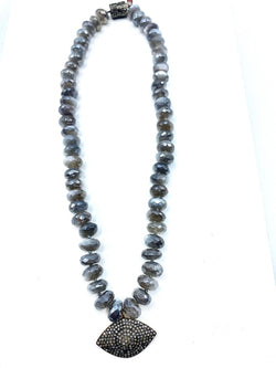 Moonstone & Pave Diamond Necklace