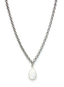 Silver with Moonstone Charm Necklace