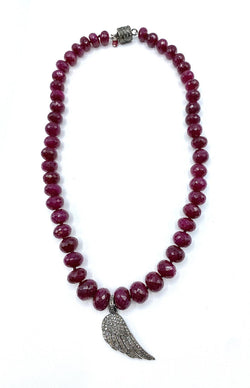 Ruby & Pavet Diamond Necklace