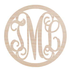 Circle Design Three Initial Wood Monogram    FREE SHIPPING!!!