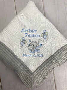 Elephant w Balloons Baby Quilt -First Name, Middle Name & Birth Date