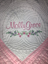 Baby Girl Quilt w Rose Trim - Keepsake Heirloom Quilt