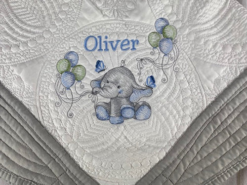 Heirloom Baby Elephant Quilt with Baby's Name