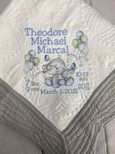 Girl Elephant w Balloons Baby Quilt & Full Birth Announcement