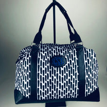 Weekender Travel Bag -Leather Patch on Black and White Print