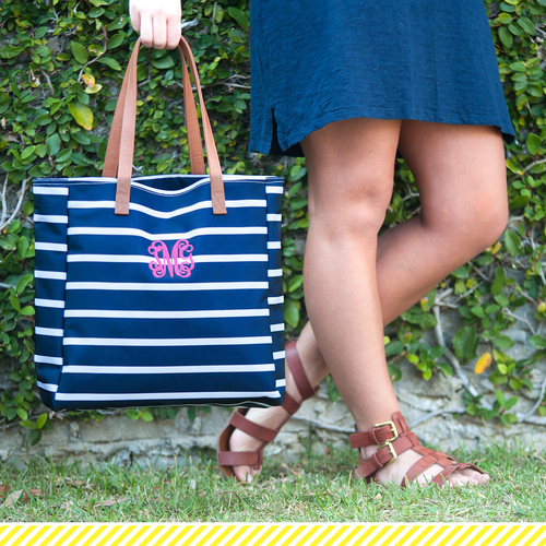 Striped Tote Bag -Navy