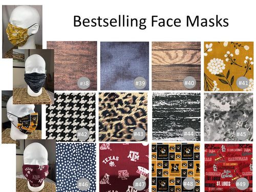 Masculine & New Fabrics - Adult Face Mask - Full Coverage - 30 Fabric Choices! - In Stock