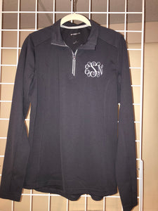 Pebbled Quarter Zip w/Monogram - WOMEN'S