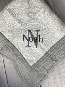 Grey Trimmed Heirloom Quilt with Name over Single Letter
