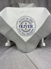 Grey Trimmed Heirloom Quilt with Circle Birth Announcement - Boy