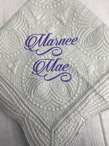 Heirloom Baby Quilt with Embroidered Name