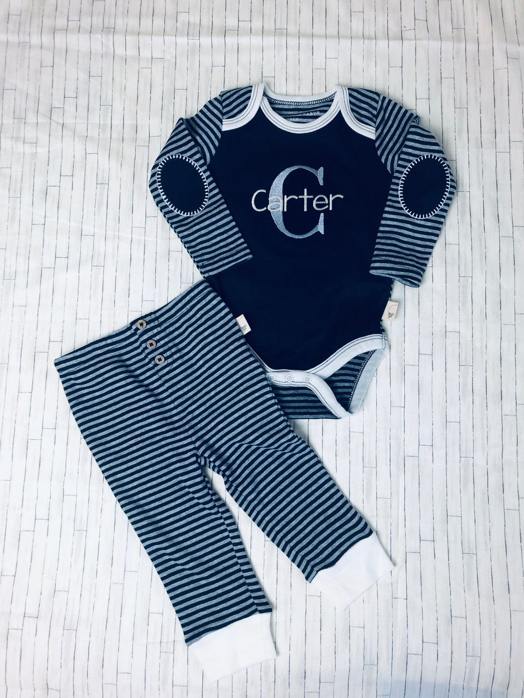 Baby Boy - Navy Striped 2 pc. Set from Bert's Bees Baby