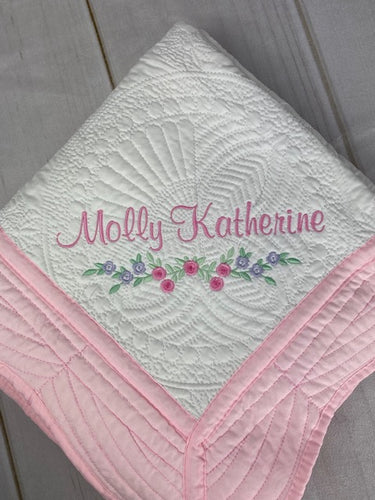 Baby Girl Quilt w Flower Trim - Keepsake Heirloom Quilt