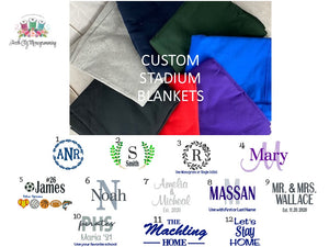 Custom Stadium Blankets - You choose Embroidery