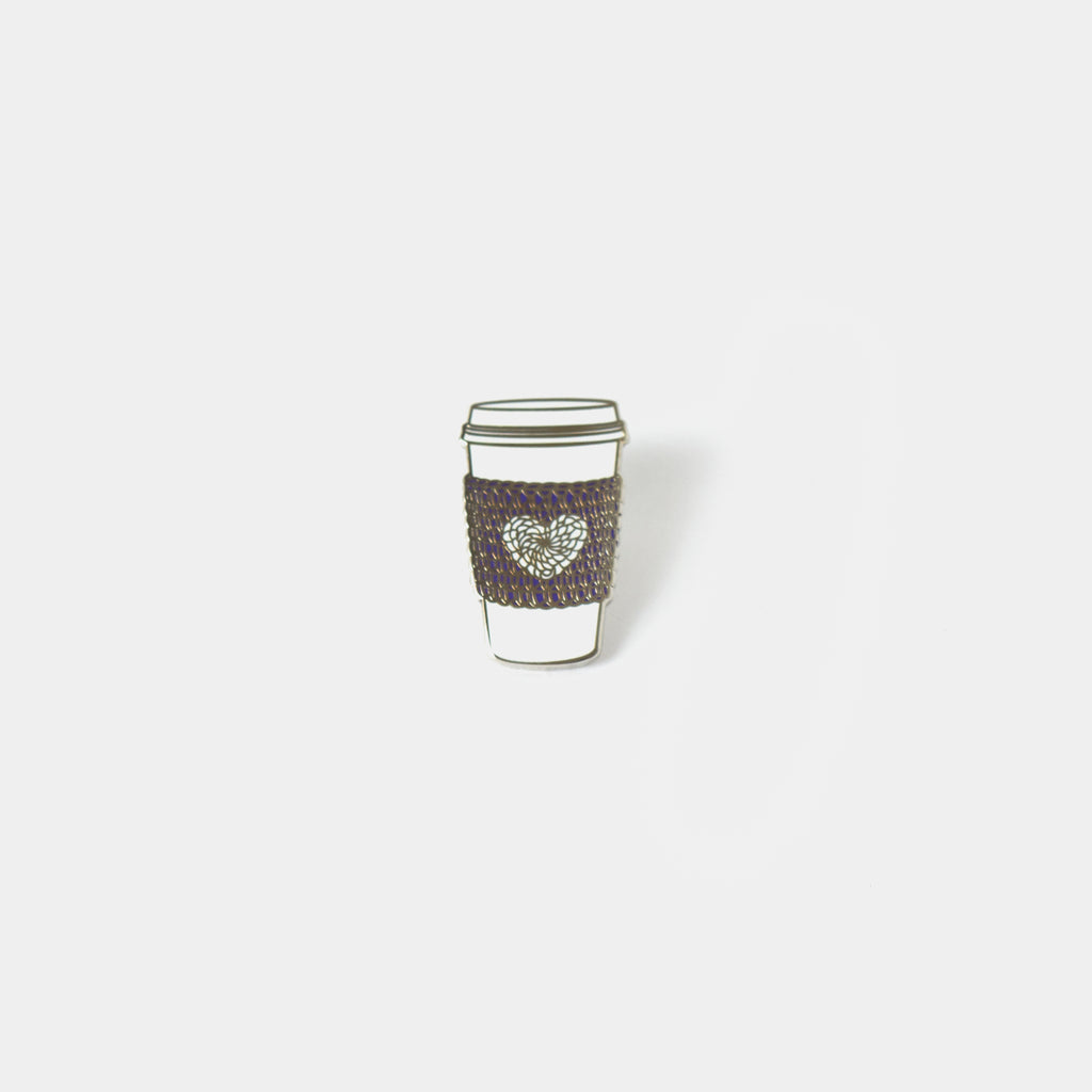 """I Heart Yarn"" Cup Cozy Enamel Pin"