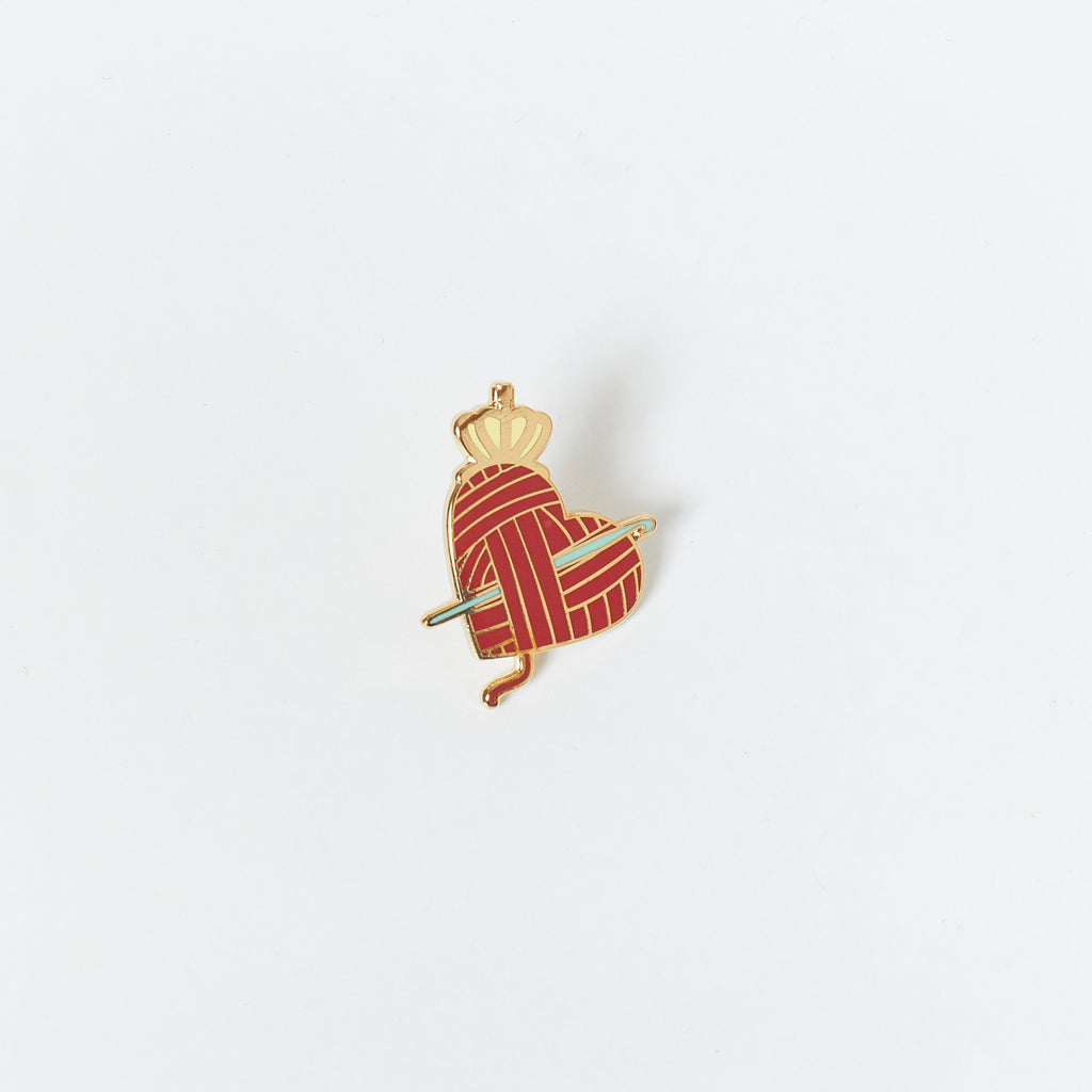 Queen of Yarn Crochet Enamel Pin