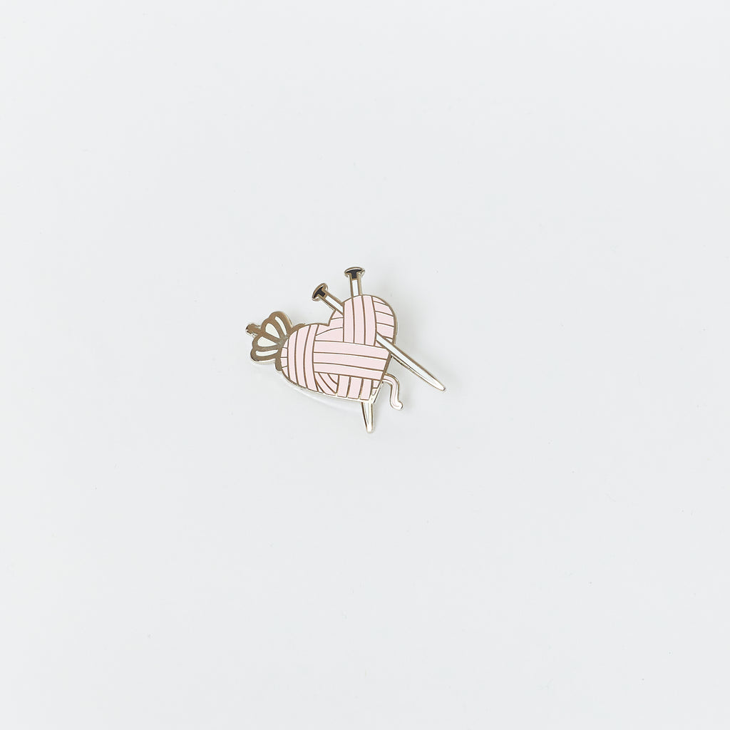 Queen of Yarn Knit Enamel Pin