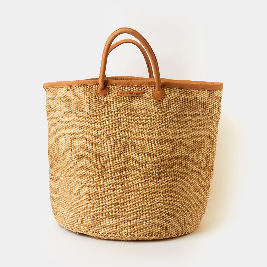 Woven Sisal + Leather Basket