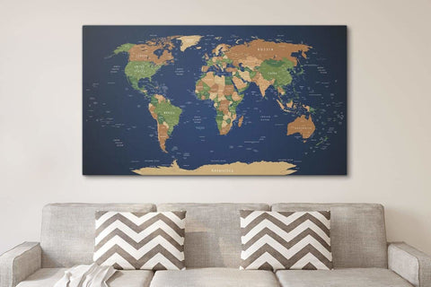 World Map Art Wall