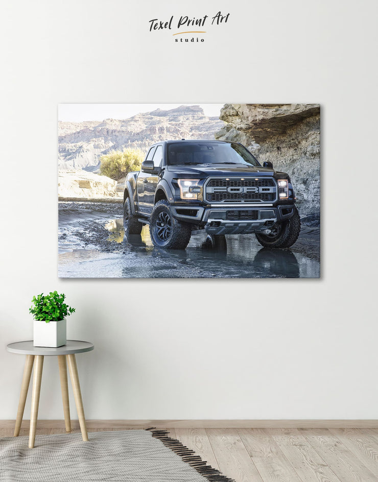 2017 Ford F-150 Raptor Wall Art Canvas Print - 1 panel bachelor pad Car garage wall art manly wall art