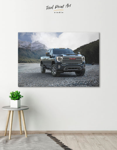 2020 GMC Sierra Heavy Duty Wall Art Canvas Print - 1 panel bachelor pad Car garage wall art Hallway