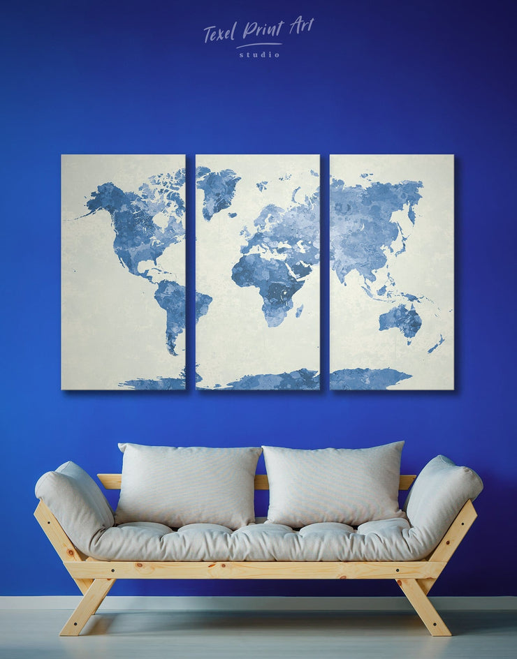 3 Panel Abstract Blue Map Wall Art Canvas Print - 3 Panels Abstract map aqua blue Blue Blue Abstract Wall art