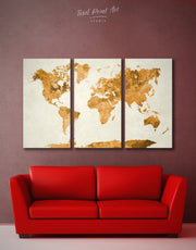 3 Panel Abstract World Map Wall Art Canvas Print